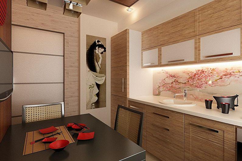 Бежевая кухня в японском стиле - Дизайн интерьера