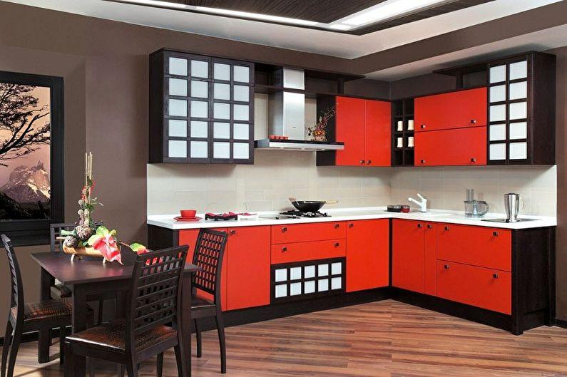 Красная кухня в японском стиле - Дизайн интерьера