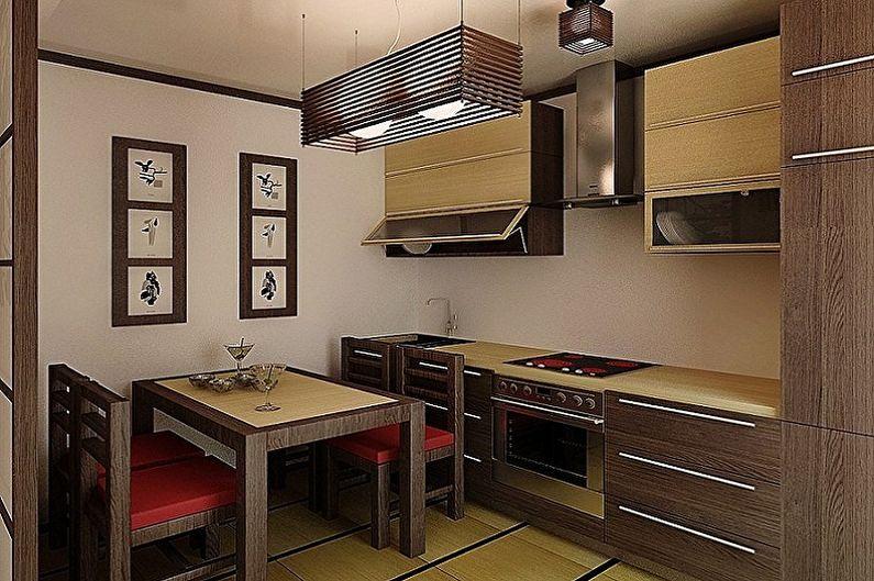 Коричневая кухня в японском стиле - Дизайн интерьера