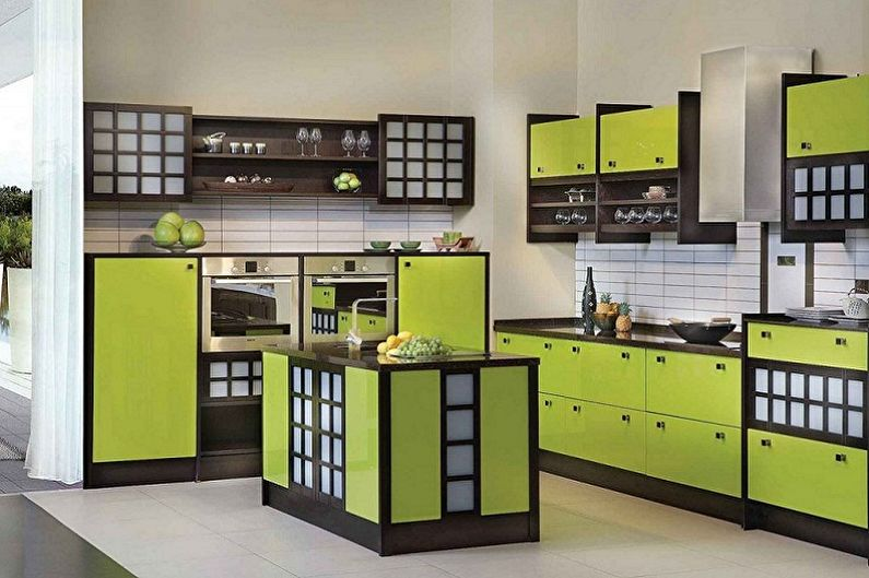 Зеленая кухня в японском стиле - Дизайн интерьера
