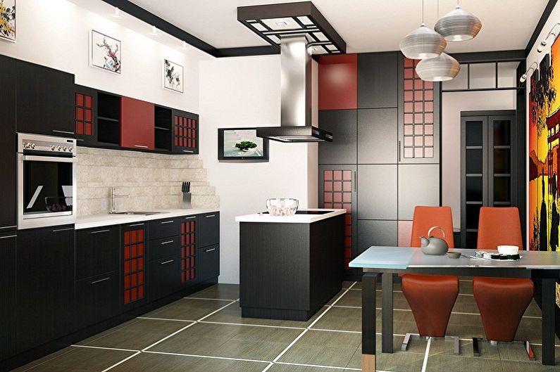 Черная кухня в японском стиле - Дизайн интерьера