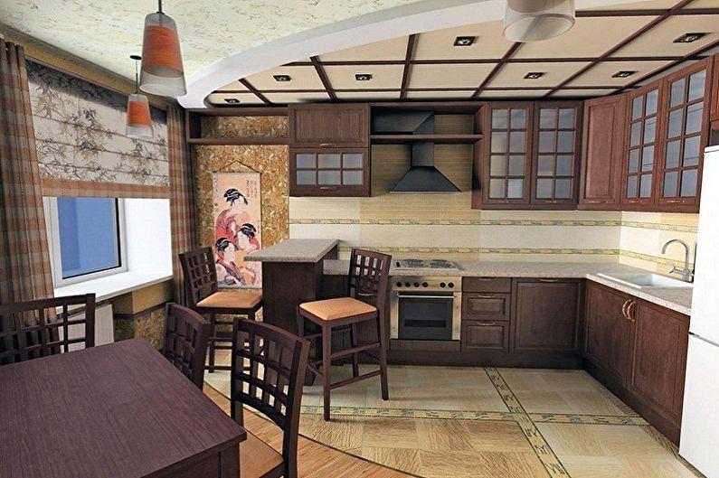 Дизайн кухни в японском стиле - Отделка пола