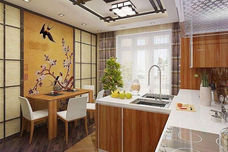 Дизайн кухни в японском стиле - Отделка стен