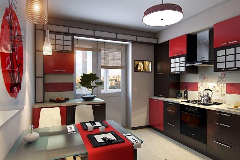 Дизайн кухни в японском стиле - Отделка потолка