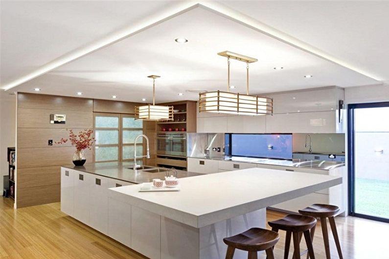Дизайн кухни в японском стиле - Освещение и декор