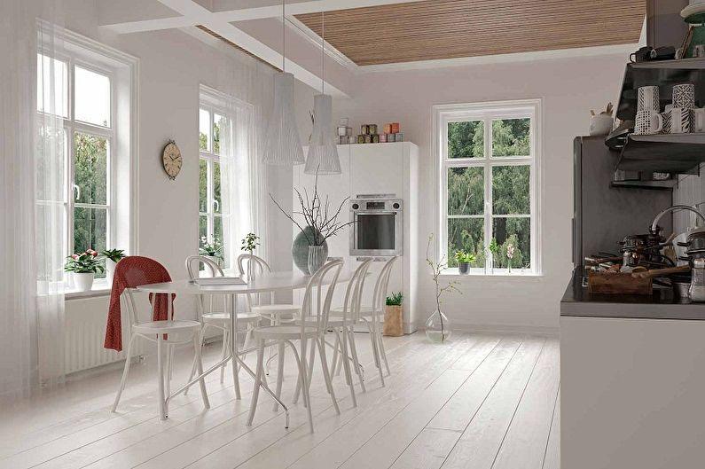 Белая кухня в стиле лофт - Дизайн интерьера