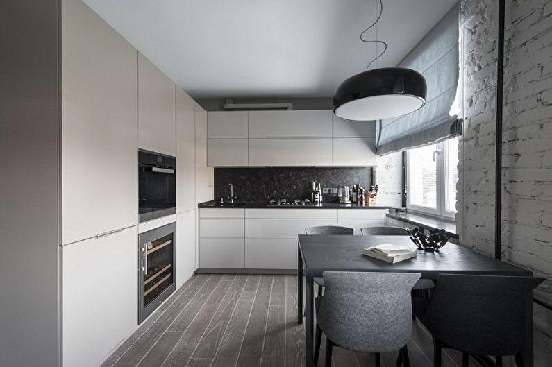 Серая кухня в стиле лофт - Дизайн интерьера