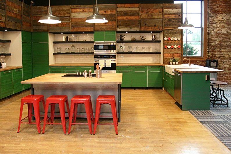 Зеленая кухня в стиле лофт - Дизайн интерьера