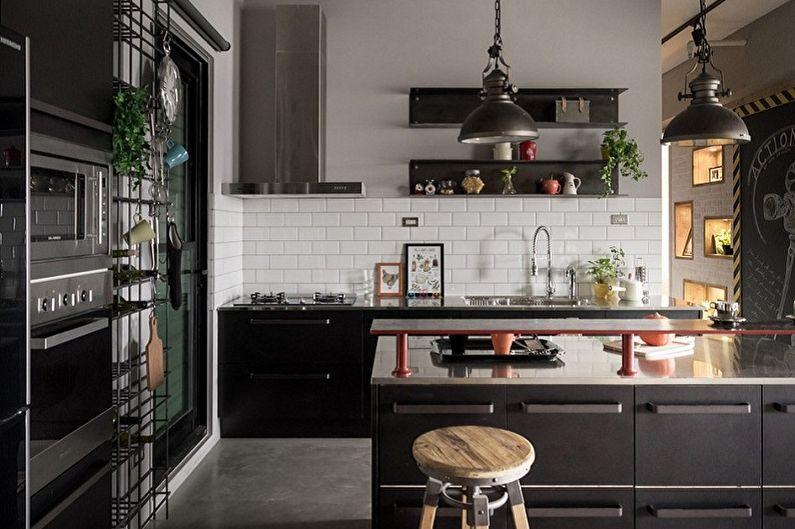Черная кухня в стиле лофт - Дизайн интерьера