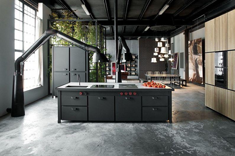 Дизайн кухни в стиле лофт - Отделка пола