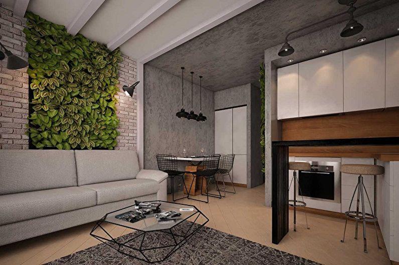 Дизайн кухни в стиле лофт - Отделка стен