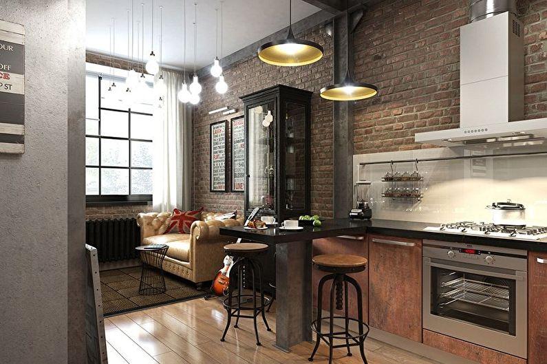 Дизайн кухни в стиле лофт - Отделка потолка