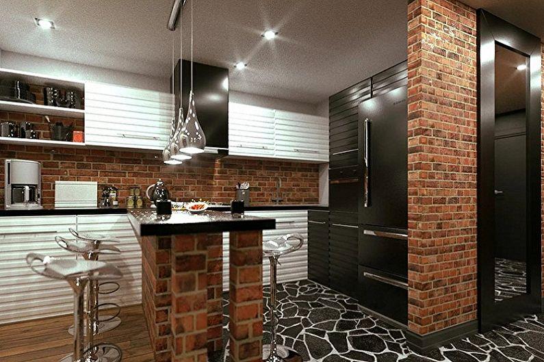 Дизайн кухни в стиле лофт - Освещение и декор