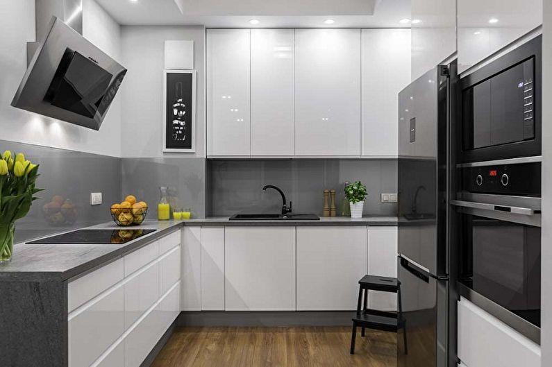 Серая кухня в стиле минимализм - Дизайн интерьера