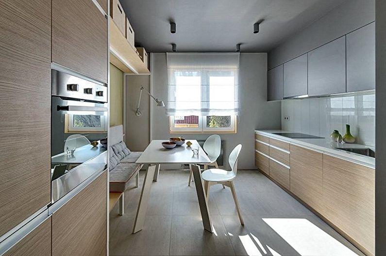 Бежевая кухня в стиле минимализм - Дизайн интерьера