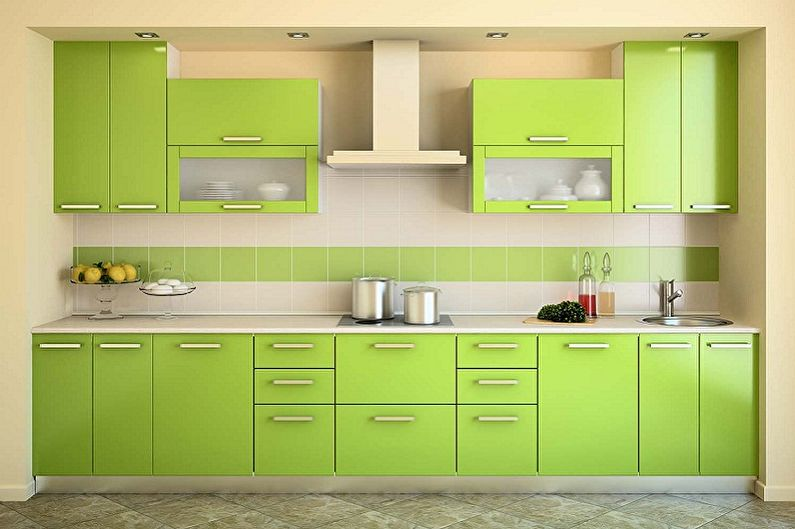 Зеленая кухня в стиле минимализм - Дизайн интерьера