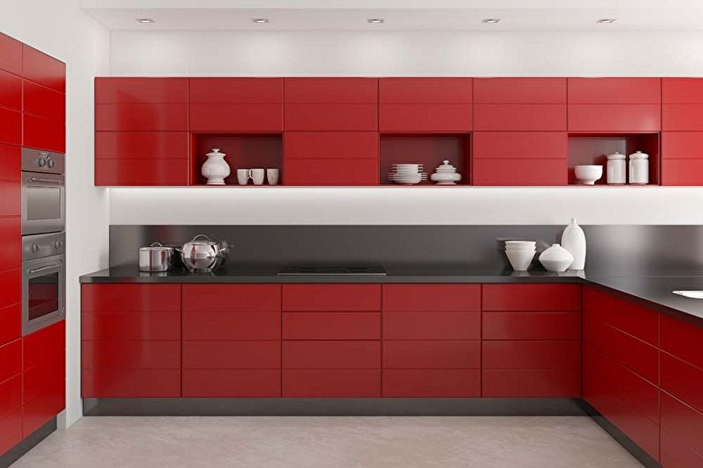 Красная кухня в стиле минимализм - Дизайн интерьера
