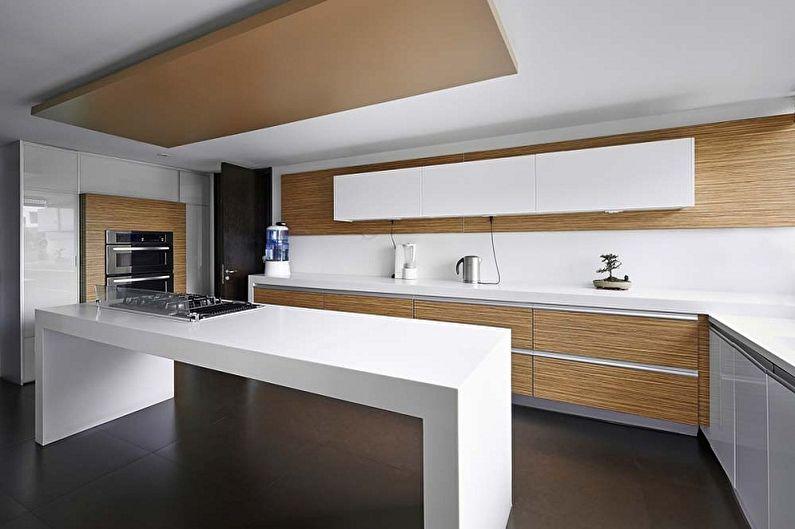 Дизайн кухни в стиле минимализм - Отделка потолка