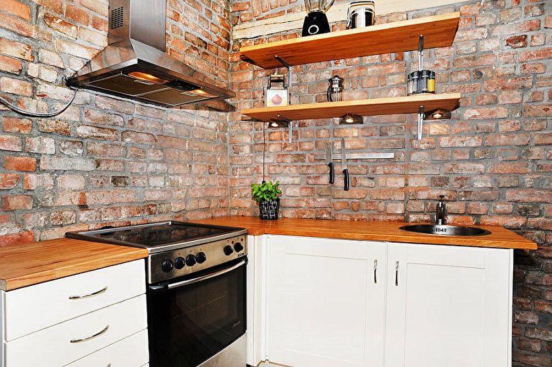 Отделка рабочей стены на кухне - Декоративный камень