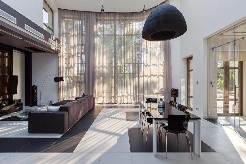 Интерьер загородного дома в черно-белой гамме - фото 33