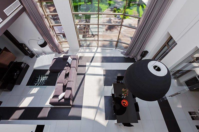 Интерьер загородного дома в черно-белой гамме - фото 40